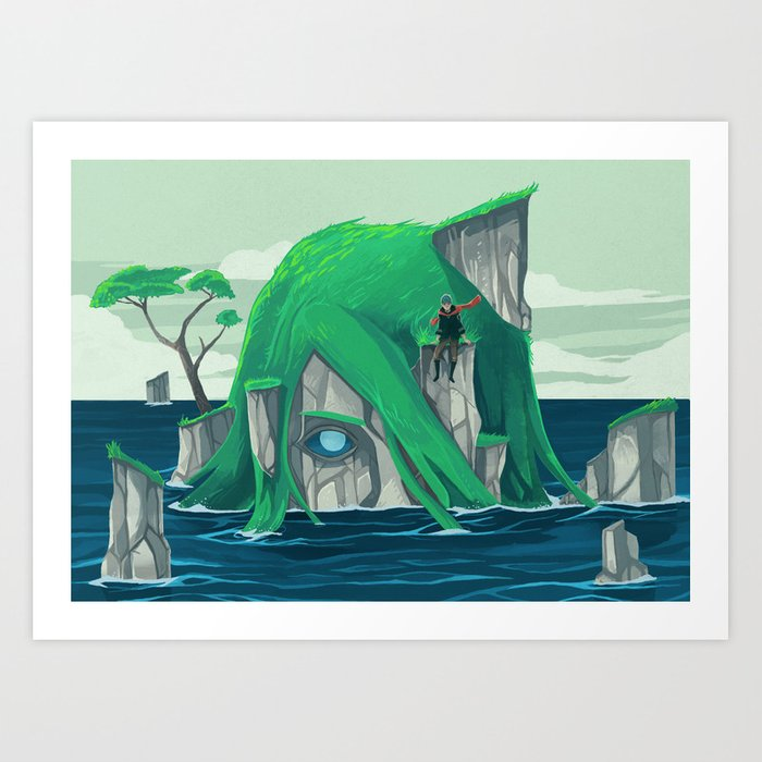 The wanderer and the ancient island Art Print