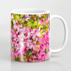 Colorful garden flowers, pink azalea. Floral photography. Mug