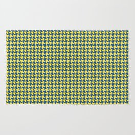 Yellow Blue Houndstooth Pattern Rug