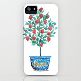 Persephone- Pomegranate Tree on White iPhone Case