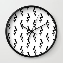Bolts lightning bolt pattern black and white minimal cute patterned gifts Wall Clock