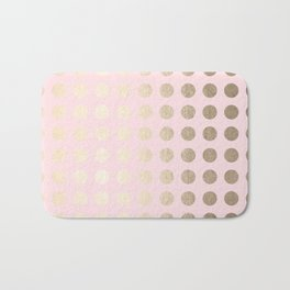 Simply Polka Dots White Gold Sands on Flamingo Pink Bath Mat
