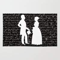 pride and prejudice Area & Throw Rugs featuring Pride and Prejudice design by Evie Seo