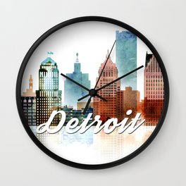Detroit Skyline Watercolor, Michigan Cityscape Art Wall Clock