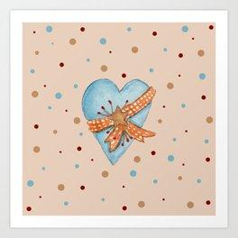 Country Heart And Polka Dots Watercolor Art Print