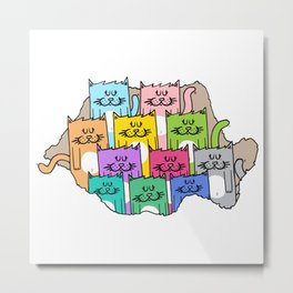 Meow-mania, the land of cats Metal Print