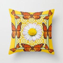 Shasta Daisy Monarch Butterflies Yellow Pattern Art Throw Pillow