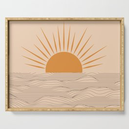 Modern abstract aesthetic background with sun and sea waves, sunset and sunrise illustration Serving Tray