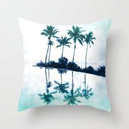 Palm Tree Reflections Teal Throw Pillow