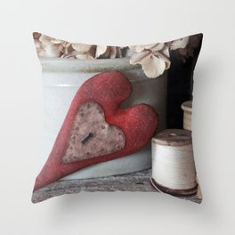 Vintage Heart Vignette Throw Pillow