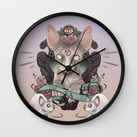 sphynx Wall Clocks featuring Sphynx by AlchemyArt