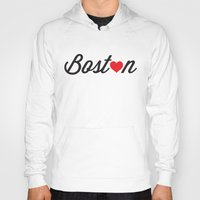 boston Hoodies featuring Boston by Julia Paige Designs