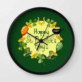 Happy St Patrick`s Day Wall Clock