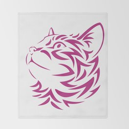 Looking Left Cat Kitten Face Stencil Throw Blanket
