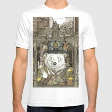 Steampunk City White Mens Fitted Tee MEDIUM