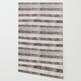 White Marble Rose Gold Glitter Stripe Glam #2 #minimal #decor #art #society6 Wallpaper