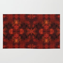 Kaleidoscopic design in red and black colors Rug