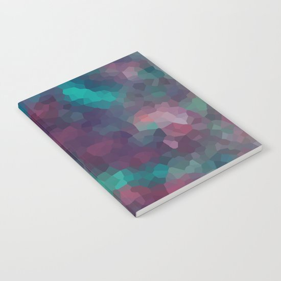 Abstract pattern blue raspberry and turquoise crystals . Notebook