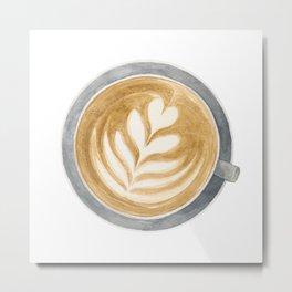 Latte Art Watercolour Painting Metal Print