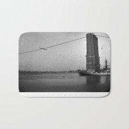 Construction of The Brooklyn Bridge Photograph Bath Mat