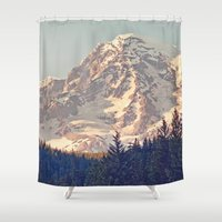 dave grohl Shower Curtains featuring Mount Rainier Retro by Kurt Rahn