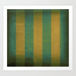 Vintage green striped deck chair cover Art Print