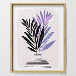 Lavender Olive Branches / Contemporary House Plant Drawing Serving Tray