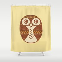 navajo Shower Curtains featuring Navajo Owl  by Terry Fan