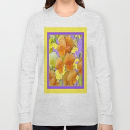 Contemporary Lilac Purple Yellow Art Apricot  Pansies Long Sleeve T-shirt