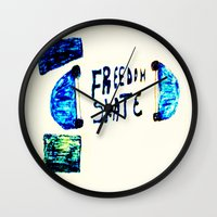skate Wall Clocks featuring Skate by SLIDE