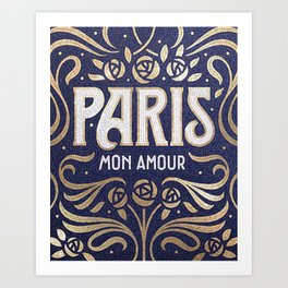 Paris (blue) Art Print