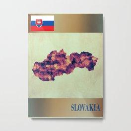 Slovakia Map with Flag Metal Print