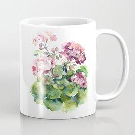 Watercolor pink geranium flowers aquarelle Coffee Mug