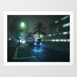 Wilshire Night Bus Art Print