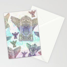 Retro Jukebox Distressed Watercolor and Ink Stationery Cards