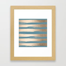 Painted Stripes Gold Tropical Ocean Blue Framed Art Print