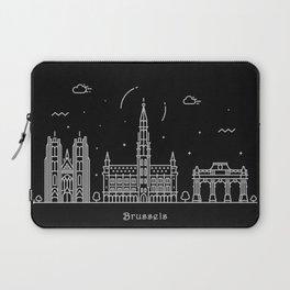 Brussels Minimal Nightscape / Skyline Drawing Laptop Sleeve