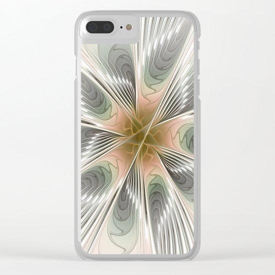 Floral Elegance, Modern Fractal Art Clear iPhone Case
