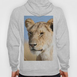 Lioness against blue sky Hoody