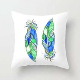Bohemian Spirit Feathers - Blue & Green Throw Pillow