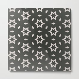 Black and white Stars Pattern Christmas Hollidays Metal Print
