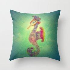 Seahorse Lady Throw Pillow