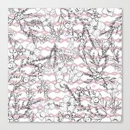 Modern  pink black geometrical floral pattern Canvas Print