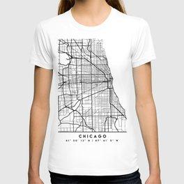 CHICAGO ILLINOIS BLACK CITY STREET MAP ART T-shirt