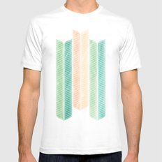 Feather Pattern White MEDIUM Mens Fitted Tee