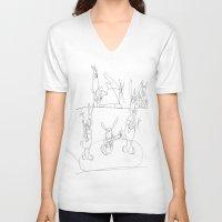 rabbits V-neck T-shirts featuring Musical Rabbits by Ryan van Gogh