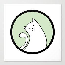 Little White Derpy Kitty Canvas Print