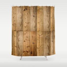 Wood Planks Dark Shower Curtain