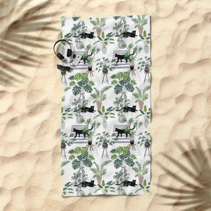 cats in the interior pattern Beach Towel