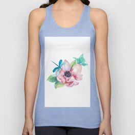 Butterfly and Dragonfly with Flowers Unisex Tank Top